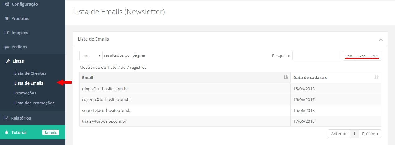 Loja Virtual Listas Lista De Clientes E Emails