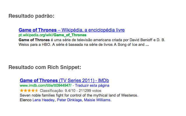 Exemplo Google Rich Snippets