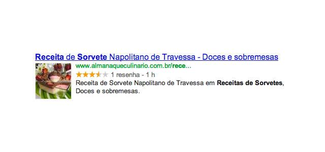 Exemplo Google Rich Snippet - Receita